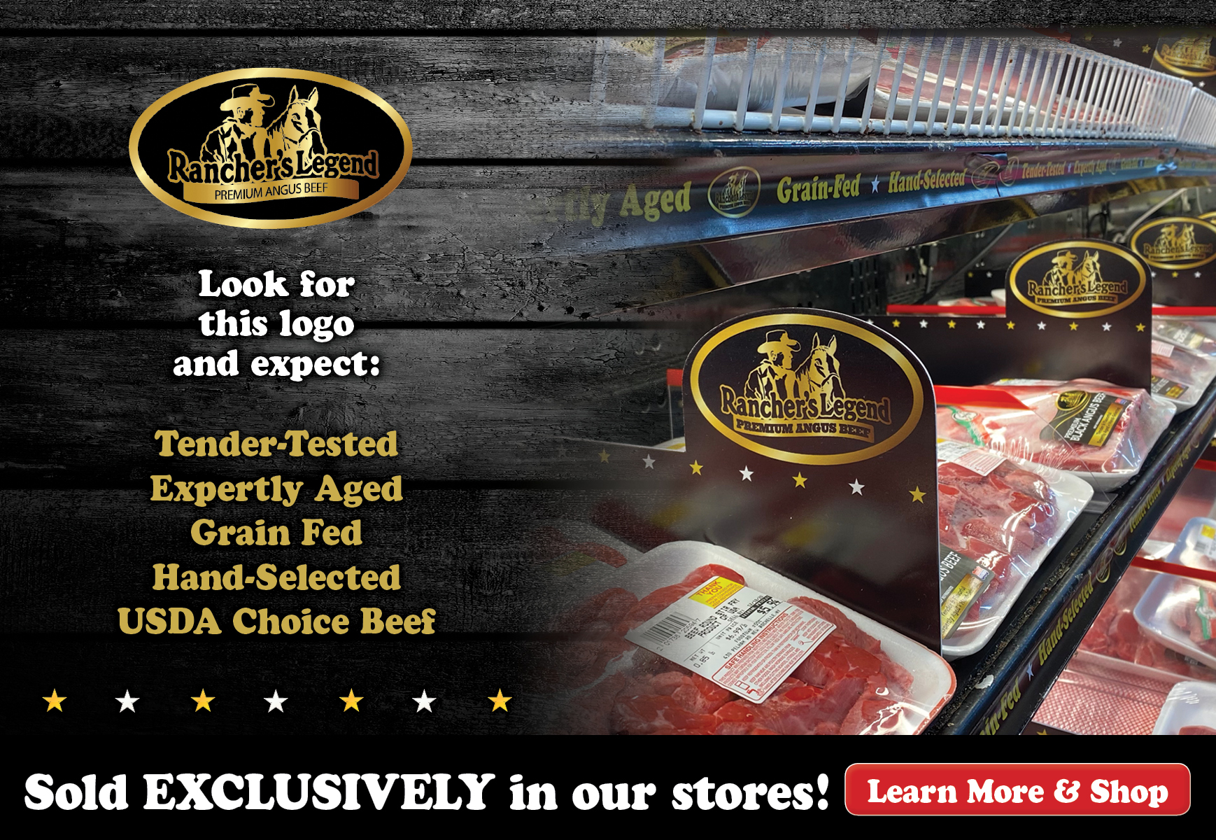 various Rancher's Legend premium black angus beef products